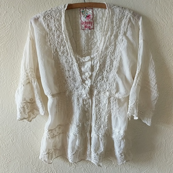 06fd616a Johnny Was Tops - Johnny Was Boho Embroidered Eyelet Button Top